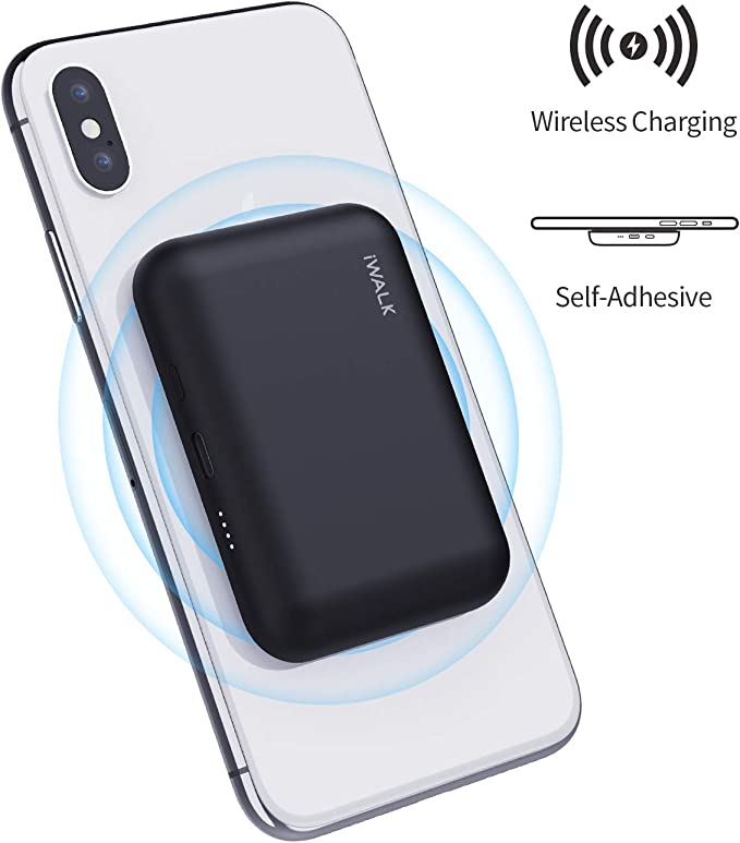 iWALK Qi Wireless Portable Charger Power Bank 3000mah by Sticking to Phone,Compatible with iPhone Xs, XR, X, 11,8,Plus,Samsung Galaxy S10, S10+, S9,