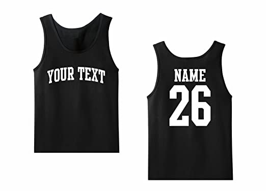b0ca9bff72 Men's Tank Top Custom Personalized T-shirt, Front Arched text, Back Name &