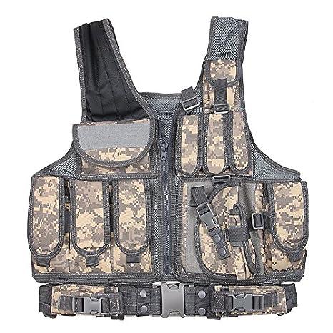 Gilet da caccia di tipo MOLLE, per wargame, softair e giochi tattici militari all'aperto, con tasche, ACU Coldstar