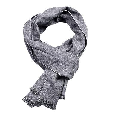 ZYUEER Echarpe Laine Homme Scarf Wool Couleur Unie Simple EléGante Foulard  éPaisse Chaud- DifféRentes Couleurs Disponibles Pas Cher Size 30X180cm  (Gris)  ... a43a73c9060