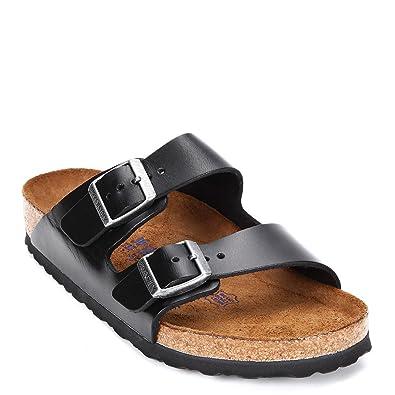 124ac793dfd2 Birkenstock Men s Arizona Soft Footbed Amalfi Leather Slides Slipper 552331  Black
