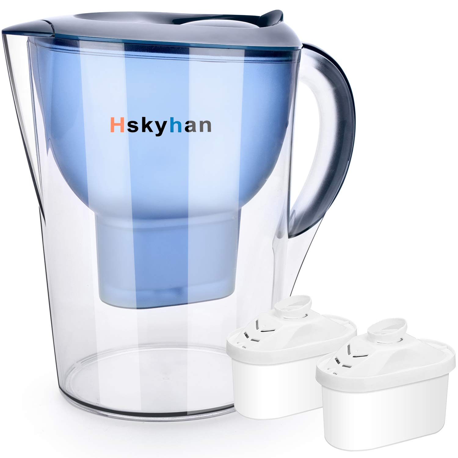 Hskyhan Alkaline Water Filter Pitcher - 3.5 Liters Improve PH, 2 Filters Included, 7 Stage Filteration System to Purify, Blue