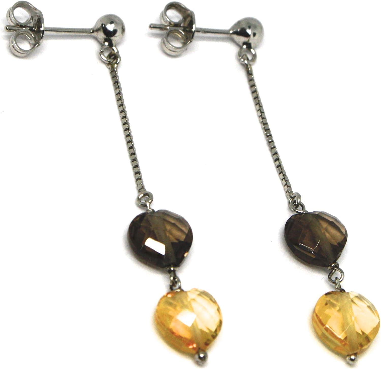 Pendientes de oro blanco 750 18 K, colgantes con corazones de cuarzo Brown y citrino, longitud 5,3 cm, fabricado en Italia