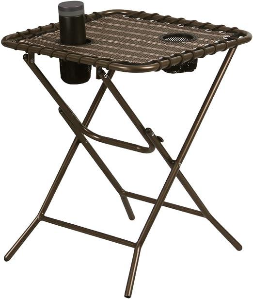 finether mesa pequeña mesa de jardín mesa auxiliar mesa plegable con soporte para bebidas Balcón Mesa bistro mesa Terraza mesa mesa de camping plegable cuadrado Antiguo Marrón: Amazon.es: Jardín