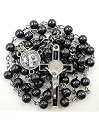 BLESSED CATHOLIC ROSARY NECKLACE Black Hematite Beads Saint Benedict Medal & Cross Crucifix
