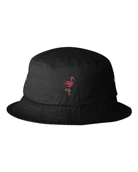 6889f52551e0e Amazon.com: One Size Black Adult Flamingo Embroidered Bucket Cap Dad ...