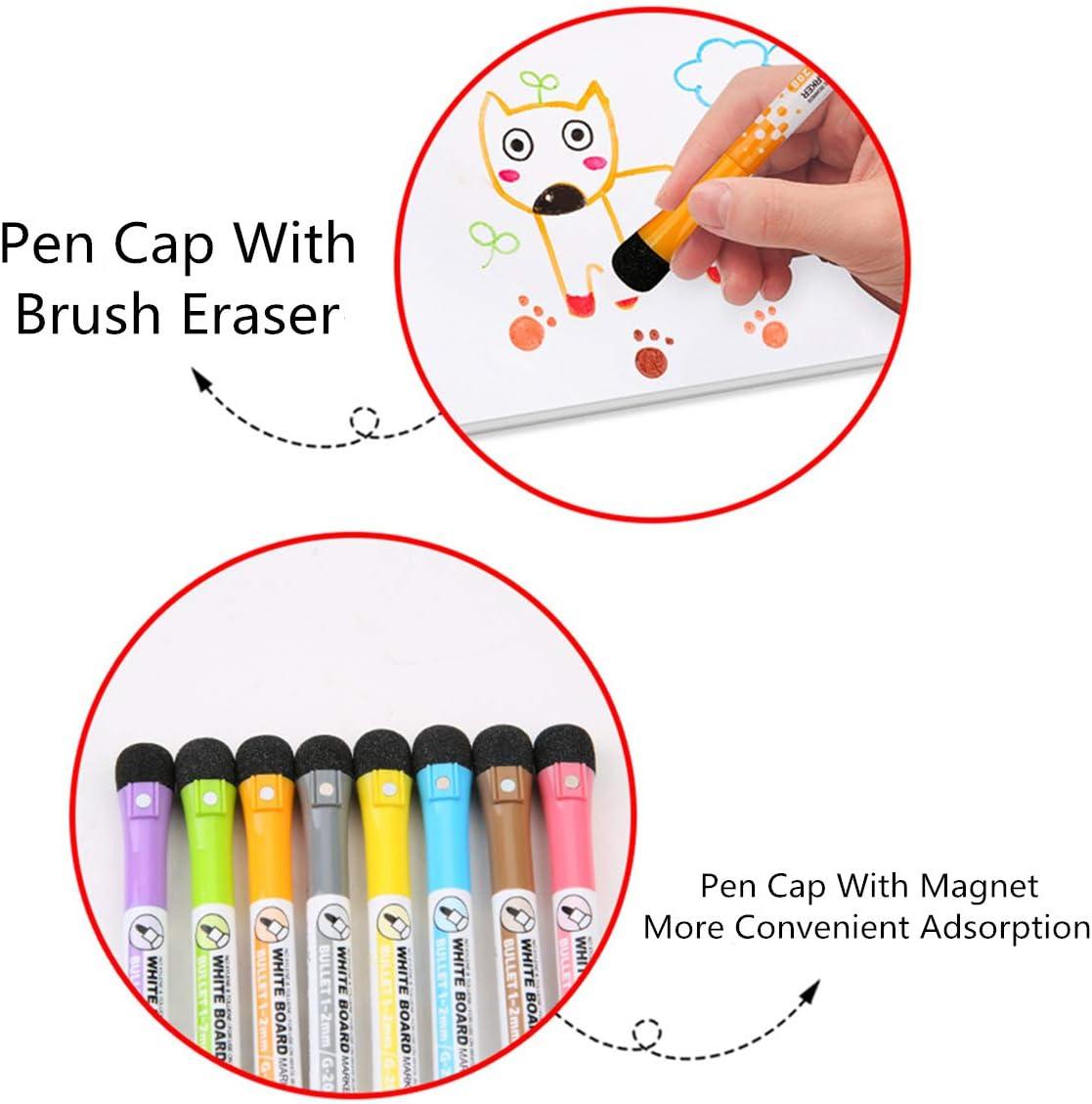 SIQIMI Magnetische Marker Whiteboard-Marker mit Radiergummi Schreibwaren f/ür Kinder geruchsarm Lehrer Lieferungen von 8 St/ück