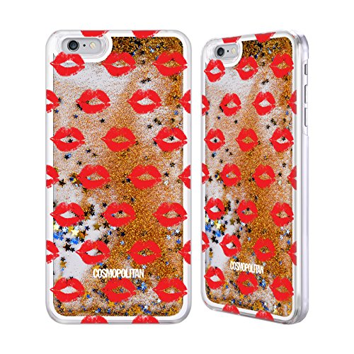 Official Cosmopolitan Red Kiss Mark Gold Liquid Glitter Case Cover for Apple iPhone 6 Plus / 6s Plus