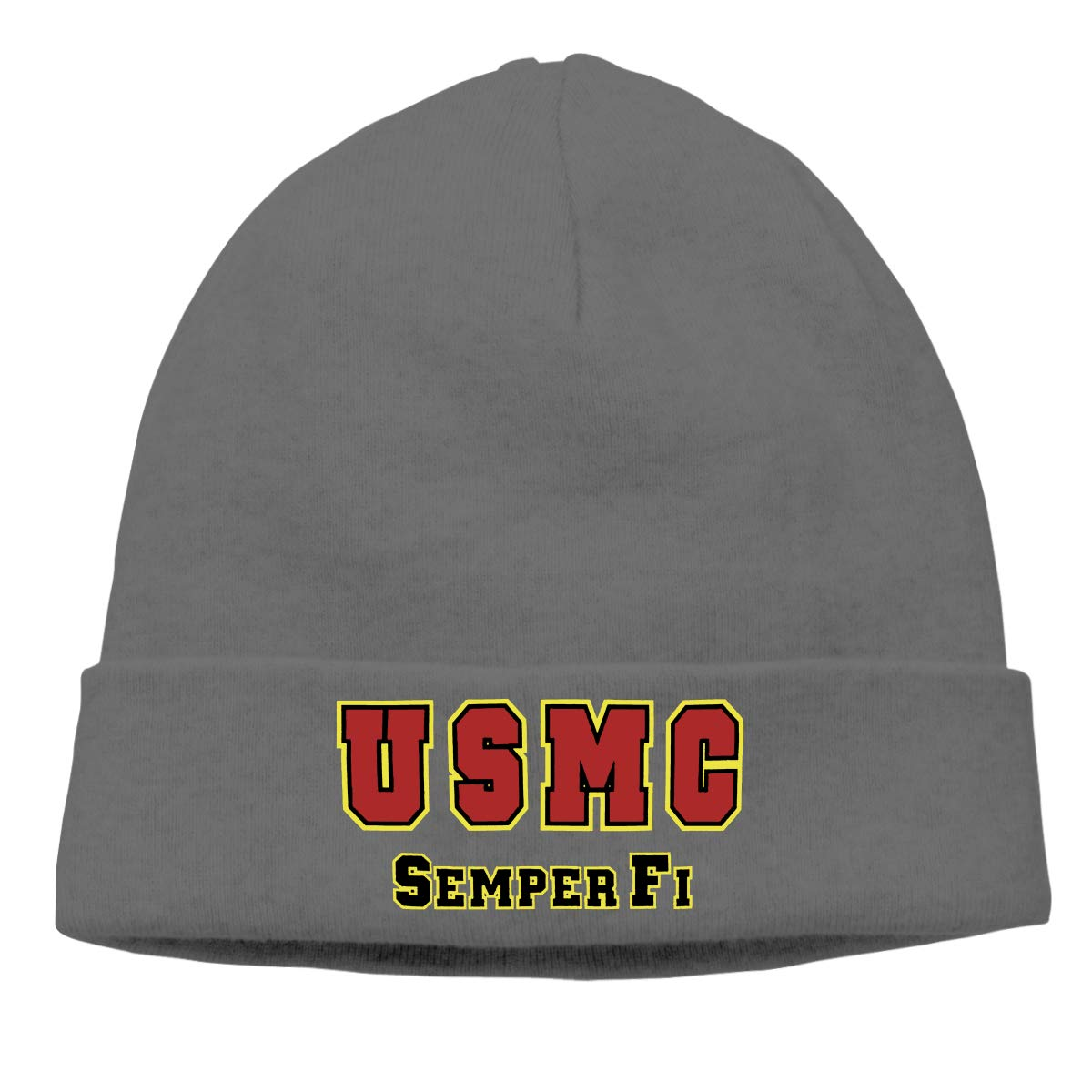 c51f8401d02 Amazon.com  TIANSHADEBIEGEN U S Marine Corps Semper Fi Beanie Hat Knit Cap  Winter Unisex Skully Hat  Clothing