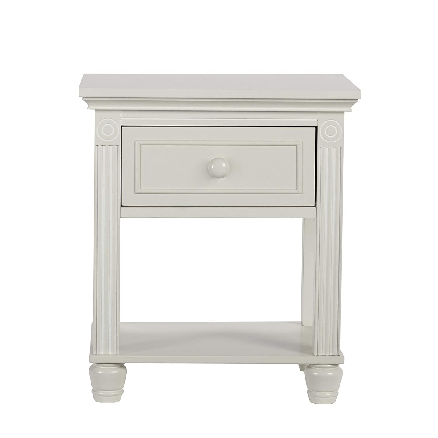 Montana Collection Natural Hardwood Nightstand End Table Combo | Lasting Quality & Design | Kiln-dried & Hand-Crafted Construction, Glazed White