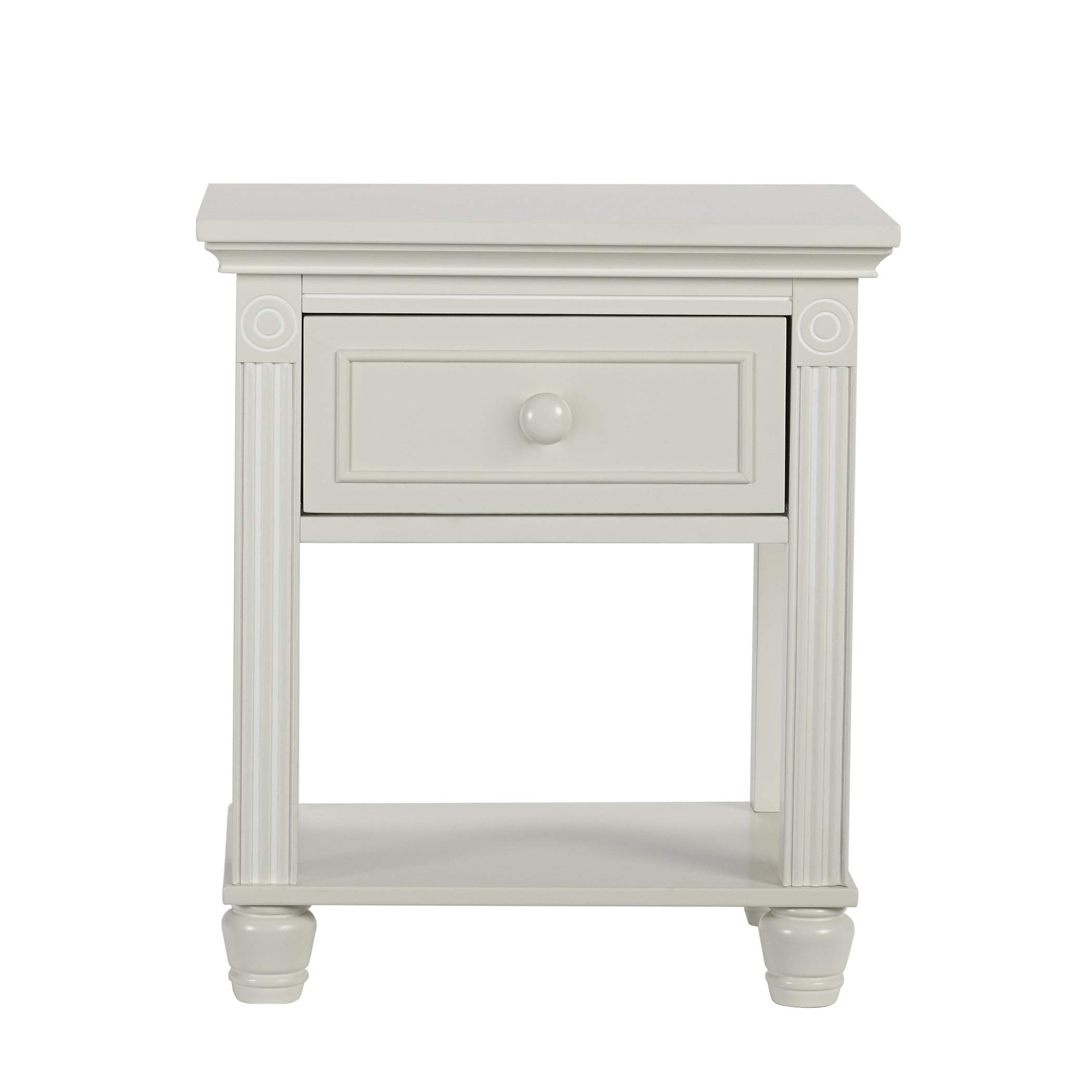 Montana Collection Natural Hardwood Nightstand End Table Combo   Lasting Quality & Design   Kiln-dried & Hand-Crafted Construction, Glazed White