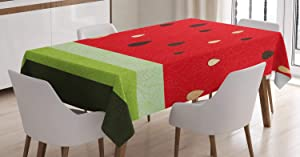 Ambesonne Nature Tablecloth, Macro Watermelon Pattern Fresh Ripe Organic Fruit Illustration, Rectangular Table Cover for Dining Room Kitchen Decor, 52