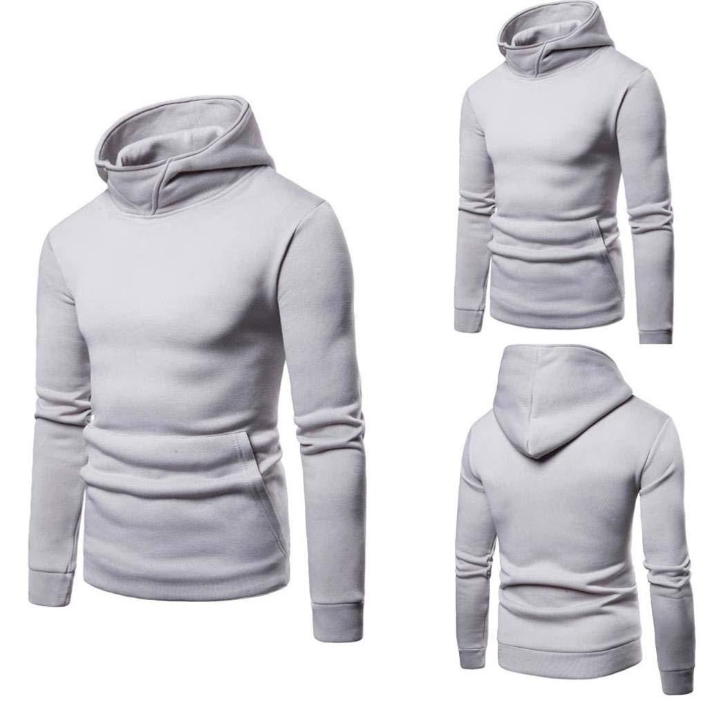 Mens Pure Color Zipper Pullover Long Sleeve Hooded Sweatshirt Tops Blouse baskuwish Mens Hooded