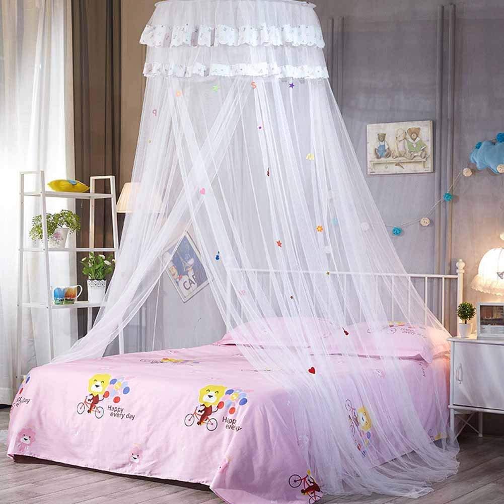 Beige Crazywind Dosel Colgante Curvado Encaje Mosquitera Princesa Redondo Mosquito Redes Cortina para Cama