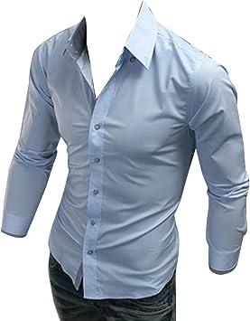 Guiran Camisa De Vestir Hombre De Manga Larga Sólido Estilo Business De Trabajo Casual Slim Fit Botones: Amazon.es: Deportes y aire libre