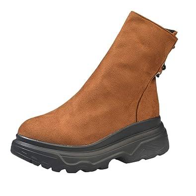 OHQ Women s Casual Buckle with Short Boots Chaussures Femmes Kaki Noir  Plate-Forme Talon ÉPais 6df69db9ba8