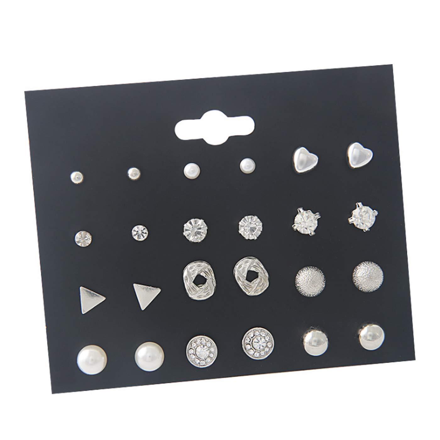 ERAWAN 12Pairs Women Girl Fashion Pearl Crystal Heart Stud Triangle Earring Set Jewelry EW sakcharn (Gold) Earrings