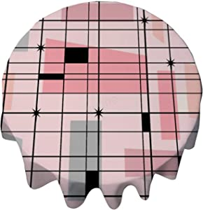 yyone Tablecloth Round 48 Inch Fashion Circle Table Cover Retro Pink Grid and Starbursts Table Cloth Decor for Buffet Table, Parties, Holiday Dinner, Wedding