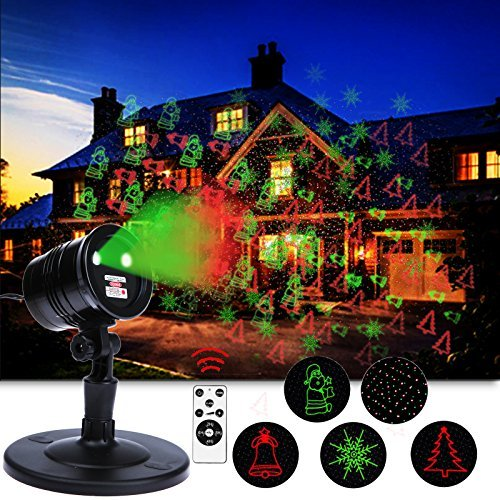 Peace Laser - Christmas Laser Lights, Red & Green LED Projector, RF Wireless Remote Control, 5 Light Patterns, Outdoor and Indoor IP65 Waterproof Spotlight for Xmas, Party, Landscape, Holiday, Garden Decoration