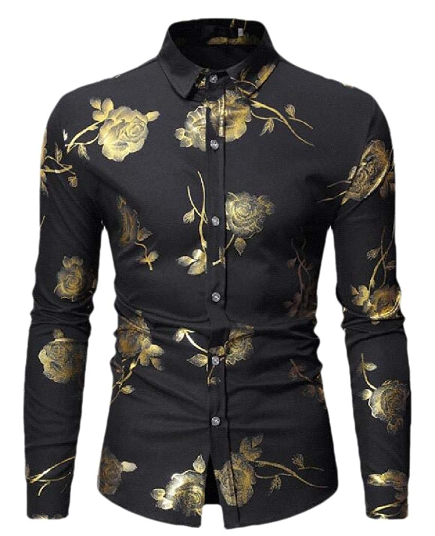 Men Floral Print Dress Shirts Slim Long Sleeve Solid Button Down Shirts