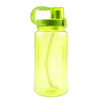 363f65a7da3a 1L Sports Water Bottles,Lonni 35oz Portable Wide Mouth Big Plastic Bottle  Leakproof Space Cup BPA Free Travel Mugs with Scale,Straw,Strap for Kids ...