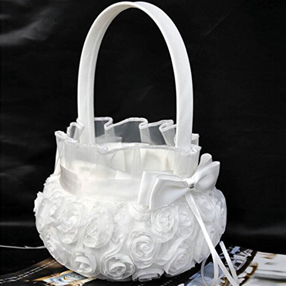 Romantic Rose Bowknot Satin Wedding Ceremony Party Flower Girl Basket White by ZSL by ZSL