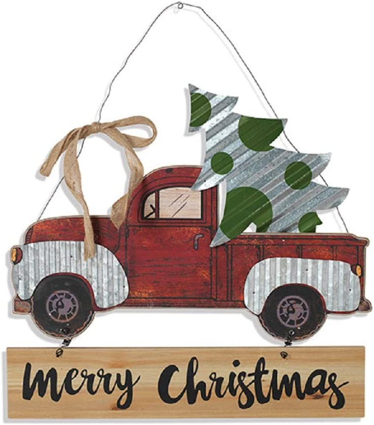 Gerson Pickup Truck Country Christmas Galvanized Hanging Sign