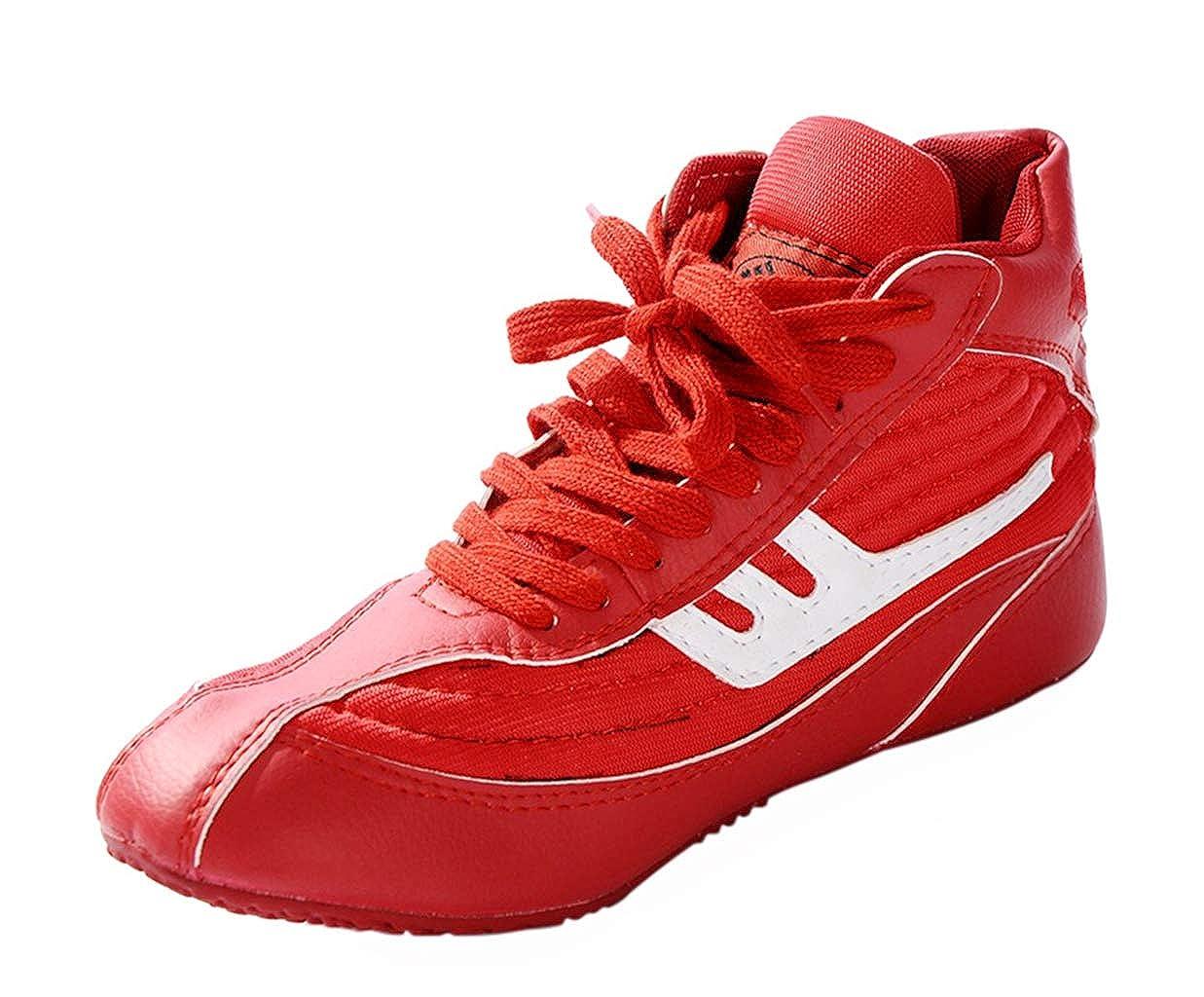 Day Key Chaussures de Catch Rouge pour Hommes, Chaussures de Catch en Cuir Haut Bas