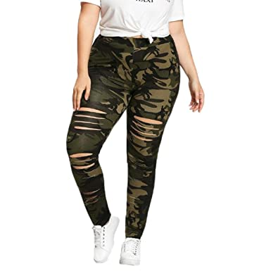 4a69bc8d683 Clearance! BSGSH Plus Size Yoga Leggings - Womens Vintage Camouflage  Distressed Ripped Leggings Casual Stretch Pants at Amazon Women s Clothing  store