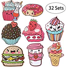 iBaseToy Valentine's Day Cards for Kids - 32 Cards in 8 Different Cute Food Designs, Includes Envelopes and Bonus Stickers - Pack of 32