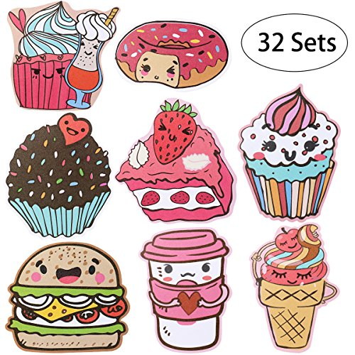 iBaseToy Valentine's Day Cards for Kids – 32 Cards in 8 Different Cute Food Designs, Includes Envelopes and Bonus Stickers – Pack of 32