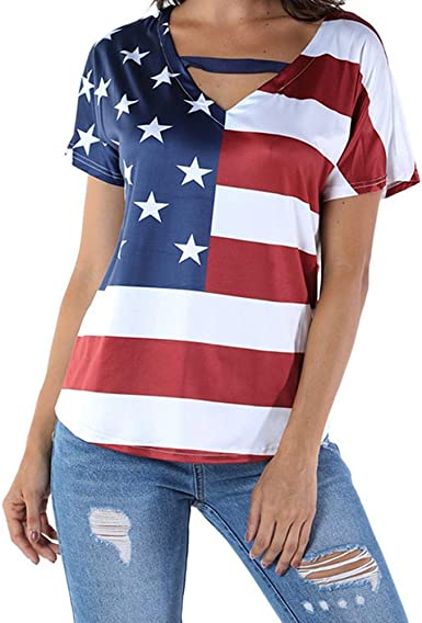 Fangren T-Shirt for Women Loose American Flag Print Short Sleeve Patriotic T-Shirt Casual Blouse Tops