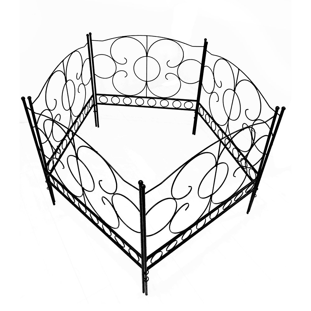 Gray Bunny GB-6885 Landscaping Garden Fence, Set of 5 Black Panels, 24 x 24 in Per Panel, Rust Proof Cast Iron Metal Movable Wire Border Picket Edging Folding Decor Fences for Flower Bed/Pet Barrier by Gray Bunny (Image #3)