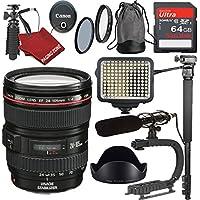 Canon EF 24-105mm f/4L IS USM Zoom Lens Super Bundle For Canon DSLR + LED Video Lite + Shot-Gun Mic + 64gb SD Card + Tripod +Scorpion Grip + More