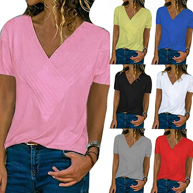 9b1d672b9ab65c galmajLj Woman' s T Shirts Summer Women's Solid Color Top Plus Size Pleated  V Neck