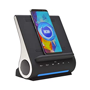 Fast Qi Wireless Charger By Azpen Upgrade Bluetooth Speakers, Docking Station With Built In Mic Handsfree Call, 2 USB Ports, Charge Up To 3 Devices for Samsung and iPhone (Black Version)