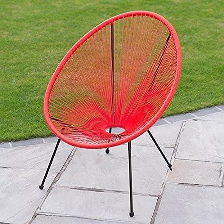 Alfresco Living Steel Tube Frame Funky String Moon Chair   Red