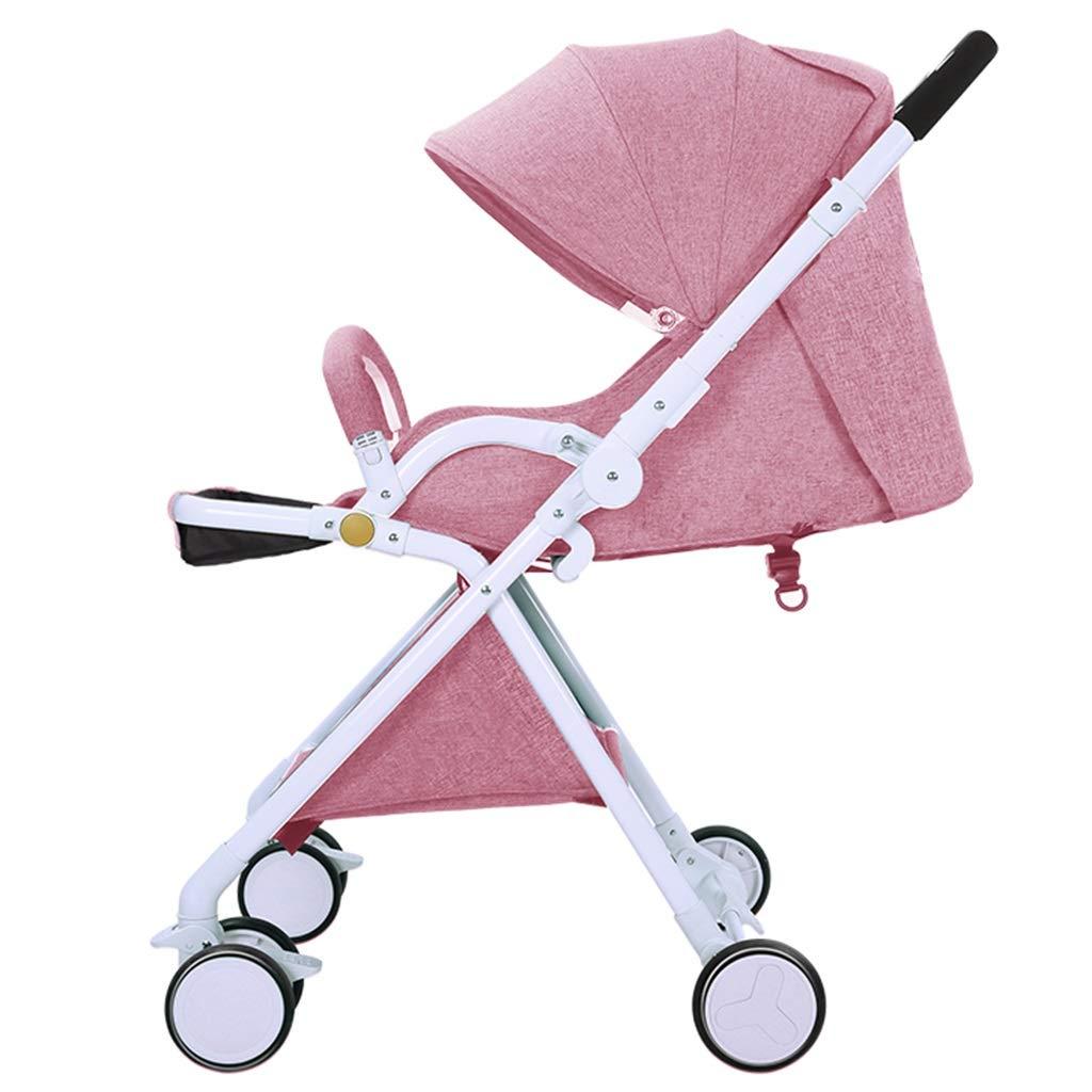 Carrello per Bambini Bicicletta A Tre Ruote per Bambini Bicicletta per Bambini 0-3 Anni Carrello Pieghevole Reclinabile Carrello per Paesaggio Alto Tenda (Colore   rosa-A, Dimensione   49  56  105cm)