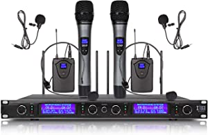 XTUGA EW240 4 Channel Wireless Microphone System 2 Handheld and 2 Bodypack UHF Wireless Metal Receiver Use for Stage,Family Party, Church, Small Karaoke Night (Frequency B)