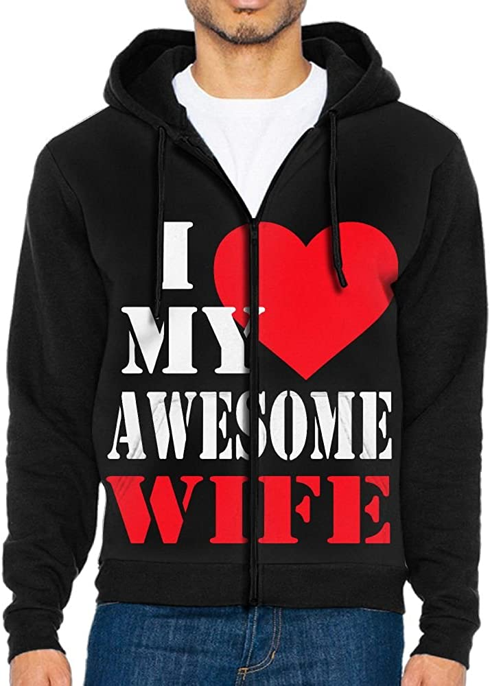 Mens I Love My Awesome Wife Full Zip Up Hooded Sweatshirt With Pocket