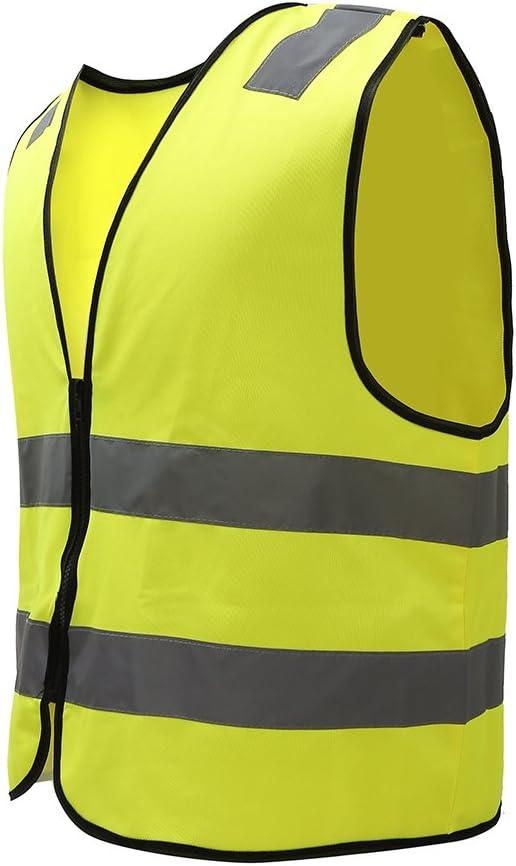 Mehrere Farben Unisex hochsichtbare Warnweste Hohe Sichtbarkeit Warnweste Reflektierende Weste Rei/ßverschluss Sicherheitswesten EN ISO 20471 XL, Gelb