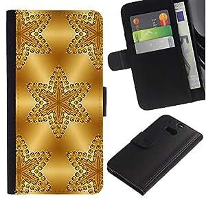 Billetera de Cuero Caso del tirón Titular de la tarjeta Carcasa Funda del zurriago para HTC One M8 / Business Style Stars Pattern Polygon Glitter