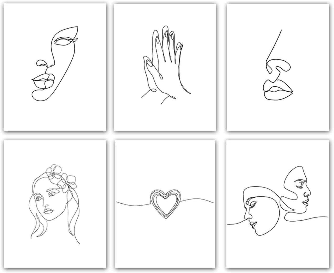 """VOUORON Modern Home Wall Decor Fashion Minimalist Line Wall Art Decor Set of 6 Hand Lover Stick Figure Printing Wall Art Decor for Home Posters Bedroom Home Decor Unframed (8""""X10"""" Canvas Picture)"""