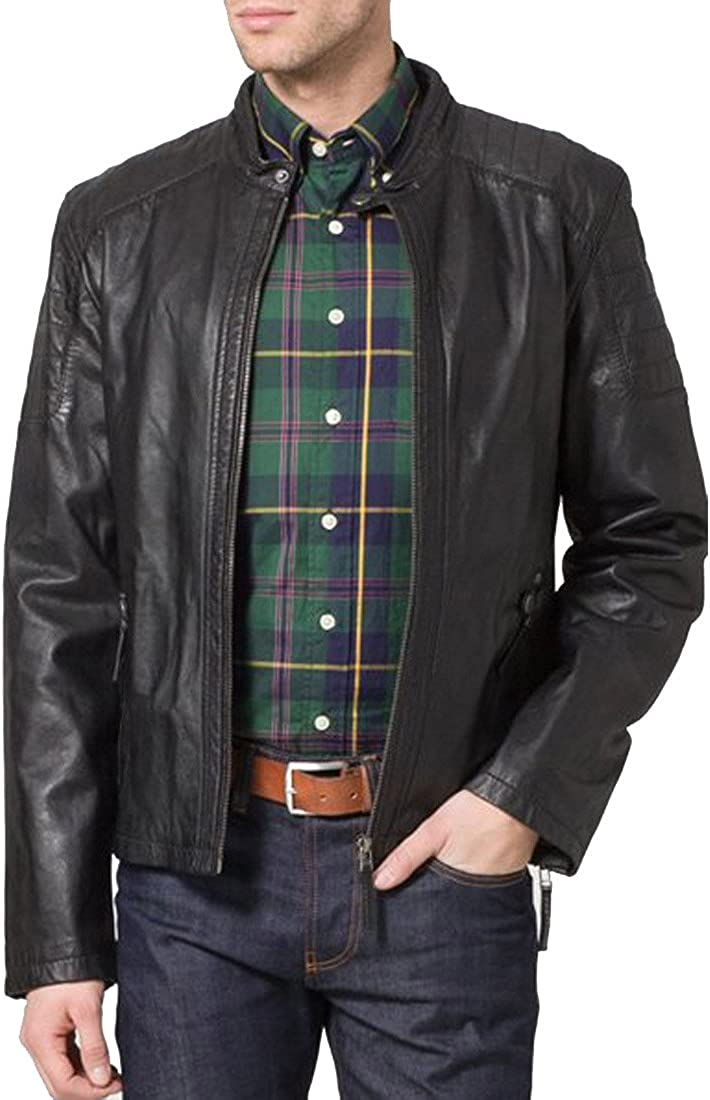 Mens Genuine Lambskin Leather Jacket Slim Fit Moto Biker Jacket T316