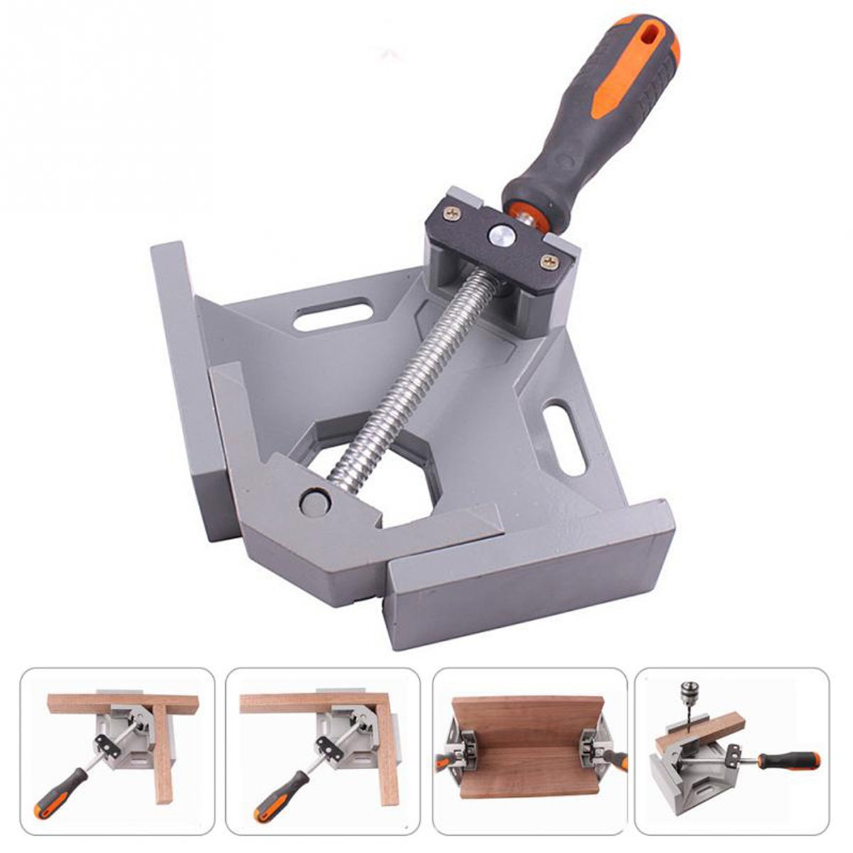 90 Degree Right Angle Clamp | Corner Clamp with Aluminum Alloy Body | Adjustable Swing Jaw Vise for Woodworking, Welding, Drilling, Doweling