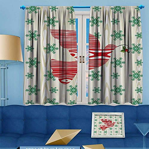 - alsohome Antique Decor Collection,bric with Green Snowflakes,Living Room Bedroom Curtain 2 Panels Set, 63