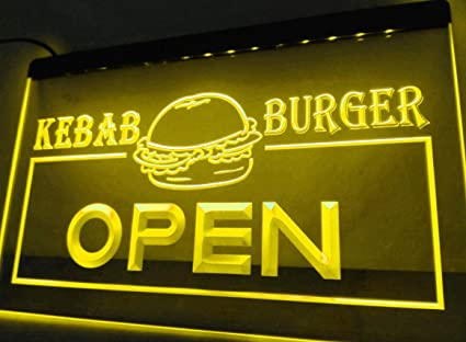 Open Kebab Burger Cafe Fast Food - Cartel de neón para tu ...