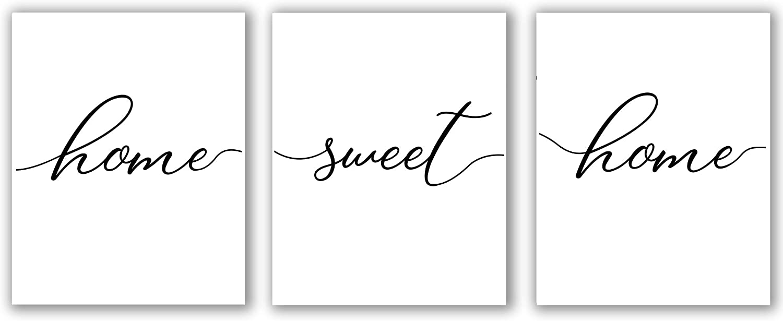 "Home Sweet Home Set Of 3 Print, Home Sweet Home Sign, Home Decor Print - Unframed, Wall Decor Living Room Modern, Minimalist, Gallery Wall Printable, Family print (home sweet home, 8"" x 10"")"