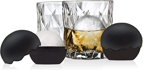Whiskey Barware Set - 2 Old Fashion Tumbler Glasses with 2 Chilled Whisky Ice Ball Molds