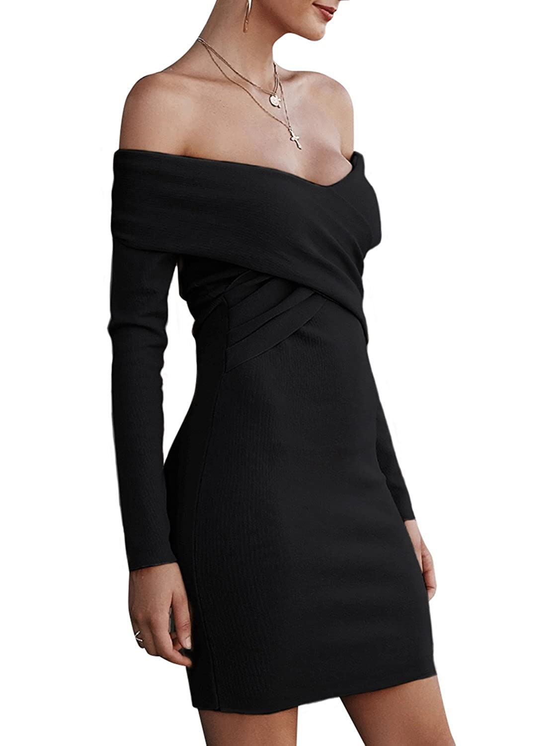 a282df970f BerryGo Women's Sexy Off Shoulder Wrap V Neck Long Sleeve Bodycon Sweater  Mini Dress: Amazon.ca: Clothing & Accessories